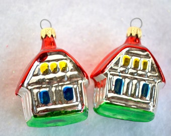 Vintage Christmas Glass Ornaments - Red Roof Houses Pair