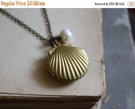 SALE Mermaid Locket Necklace