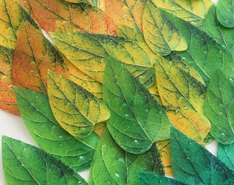 40 safari edible leaves - green emerald leaves - safari edible cupcake decoration - emerald leaves - green cake decoration by Uniqdots
