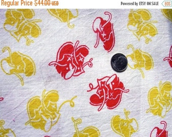 SALE:) Vintage Novelty FEEDSACK Cotton Fabric -  SWEET Red and Yellow  Baby Shoes on White Background ( #1 ) - 36 x 43
