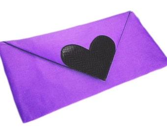 Envelope Clutch Bag Purple and Black Silk Dupioni Evening Bag Bridesmaid's Clutches Custom Handbags Heart Shape Purse