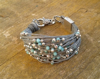 Beaded bracelet pearl and cord bracelet for woman pearl on cord bracelet beaded jewelry string bracelet gift for her