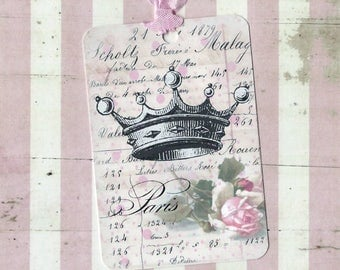 Tags, French Style, Crown & Roses, Gift Tags, Party Favors, Vintage Style