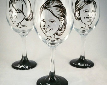 Custom Vintage Style Caricature Wine Glass- Bridesmaid Gift - Painted Wine Glass - Wedding - Engagement - Bridal Shower - Caricature Glasses