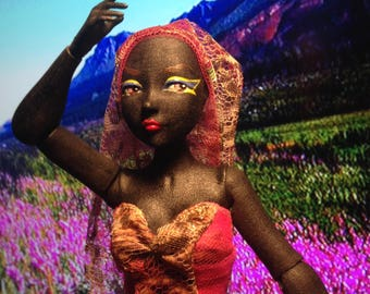Sunrise Fauntine art doll by Joey Versaw of Mary Magpie