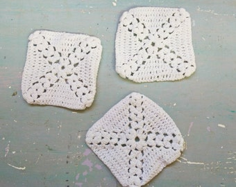 3 French Hand made Granny Squares. Shabby Chic. French Doily. Antique Crochet. Vintage Shabby. Vintage Handmade . Granny Squares. White.