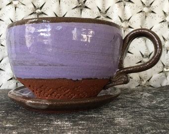 Ceramic Teacup and Saucer - Cappuccino Set in Lavender and Summer White and Terra Red Stoneware