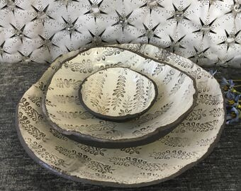Ceramic Serving Bowl Set in Summer White  and Dark Brown Clay with Stamps