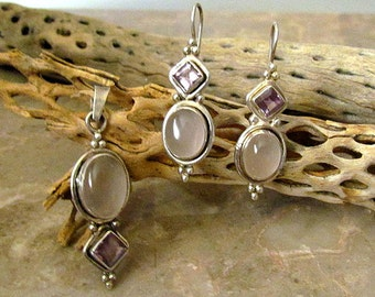 Vintage Sterling silver Moonstone and Amethyst Glass Earrings & Pendant