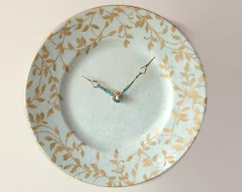 Minty Green and Gold Leaf Wall Clock, 9 Inch Porcelain Plate Wall Clock, Kitchen Clock, Unique Wall Clock - 2338