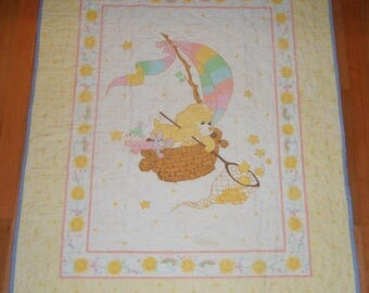 Vintage Baby Quilt Carebear Sunshine Bear Sailboat Sunny Rainbow Catching Stars pastel nursery decor playroom shower Fishing for Stars