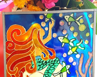 The Mermaid Grace Stained glass window on acrylic