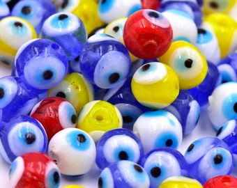 Glass Evil Eye Beads, 30pcs, 10mm, Colored Glass, 2mm Hole -C637