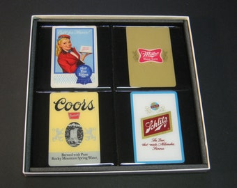 Vintage Beer (Pabst, Miller, Coors, Schlitz)  Collector Playing Card Drink Coasters (4 Coasters)