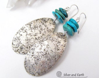 Turquoise Sterling Silver Earrings, Silver & Turquoise Jewelry, Handmade Artisan Jewelry, Genuine Turquoise Earrings, Big Silver Earrings