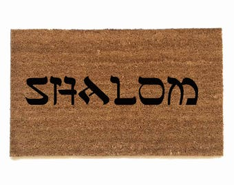 SHALOM funny jewish novelty welcome doormat Judaica wedding housewarming hostess gift