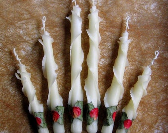 """Set of 2 Unique Taper Candles 6"""", 8"""", 10"""", Wedding Engagement Gift, Housewarming Gift, Birthday, Thank You Gift Hostess, Beeswax Rose Candle"""