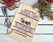 Flour Sack Towel, Feed Sack Towel, Hog Kitchen Towel, Pig Feed Cotton Dish Towel, Novelty Towel, Tea Towel, Hopewell Farms Pig Starter Feed