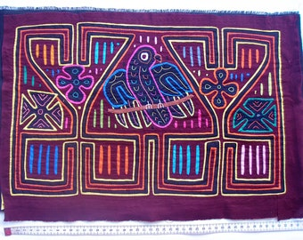 Vintage Kuna Mola - Bird and Flowers
