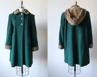 1940s Coat - Vintage 40s Green Wool Swing Coat w Leopard Print Cuffs and Removable Hood M L - Ne Plus Ultra Coat