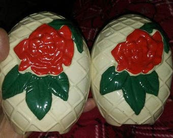 HUGE Red Rose Salt & Pepper Shakers