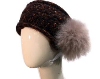 Knit Headband with beige Fur in Brown, Wool Headband brown with beige Alpaca Fur Pompom, Warm Headband brown with fur, Fur and Wool Headwrap