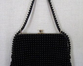 HOLIDAY SALE Vintage black bead Grandee purse. 1950s.