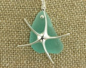 Large Sterling Silver Starfish (Sea Star) with Extremely Rare Teal Genuine Sea Glass Necklace