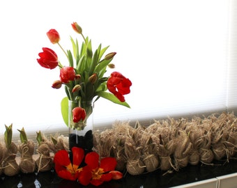 100 Plantable Wedding Favors   Burlap Wrapped Growing Tulip Bulb Favors,  Eco Friendly, Garden