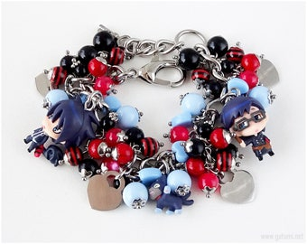 Ao No Exorcist Rin x Yukio Cluster Bracelet, Stainless Steel, Red, Blue, OOAK, Anime Jewelry, Anime Figures