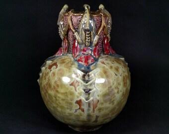 One of a Kind Handmade Crystalline Glazed Red Gold Pink Burgandy Purple Royal Crown Mantis Head Inspired Ceramicgoddess Art Pottery Vase