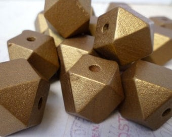 Geometric Wooden Beads - GOLD - 20mm - Pack of 10