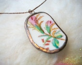Broken China Necklace with Handmade Bezel Vintage Floral Pattern and Tiny Copper Ball Chain Wild Flowers Broken Plates and Cups Mosaic