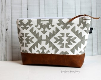 Grey Aztec with Vegan Leather - Large Make Up Bag / Diaper Clutch / Bridesmaid Gift