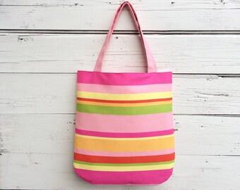 Stripe Tote Bag, Reversible Tote Bag, Pink Stripe Canvas Tote Bag, Purse, Handbag, Polka Dot Tote Bag, Book Bag, Summer Tote Bag