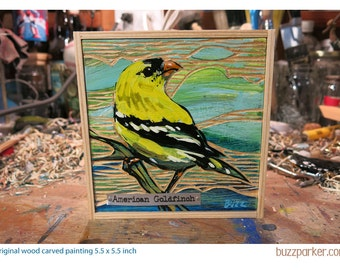 American Goldfinch, Original Carved Wood Painting Backyard Birds by Buzz Parker 5x5 inches framed ready to hang songbird garden