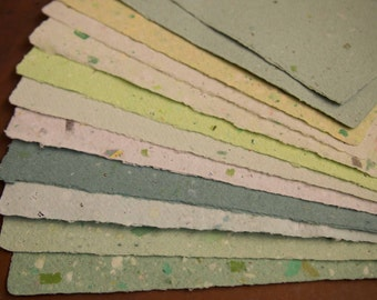 Handmade Recycled Paper - Green Assortment 1