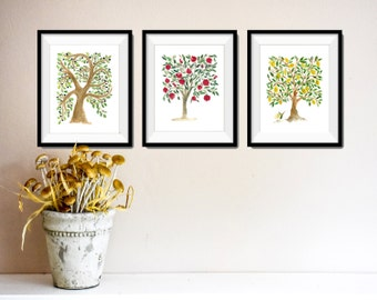 three trees art prints, lemon tree print, pomegranates tree print, Olive tree print, watercolor print, trees of the bible art,  trees art