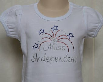 Miss Independent Bling Top, July 4th, Sizes 12 mo, 18 mo, 2t, 4t