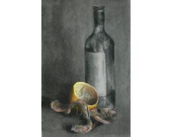 Shell off Prawns - original charcoal and pastel still life drawing of shrimp, lemon and wine bottle