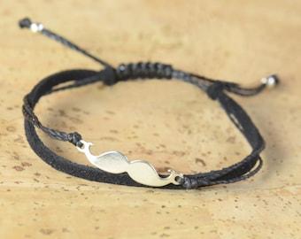 Sterling Silver Mustache charm bracelet. Mens bracelet