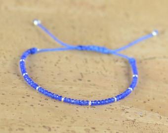 Tiny Blue Agate and sterling silver bracelet.Dainty bracelet