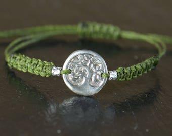 Sterling silver tree of life bracelet.Handmade artisan bead
