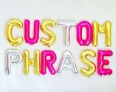 Custom Letter Balloons, Custom Balloon Letters, Letter Balloons, Gold Balloon Letters, Silver Balloon Letters, Pink Balloon Letters,