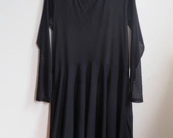 Sheer Black Goth Grunge Witchy Long Sleeve Drop Waist Midi Dress Large Size