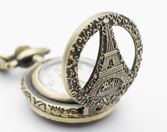 Eiffel Tower Pocket Watch Necklace | Ladies Pocket Watch | Long Necklace Watch | Bronze Pocket Watch | Eiffel Tower Pendant - WA00047