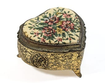 Small Vintage Heart Shaped Jewelry Box with Tapestry Lid - Music Box