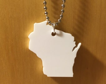 Wisconsin Necklace - State Pendant - Large Size in White - Acrylic Jewelry