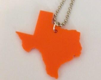 Orange Texas Necklace - Large Size - Laser-Cut Acrylic on Ball Chain