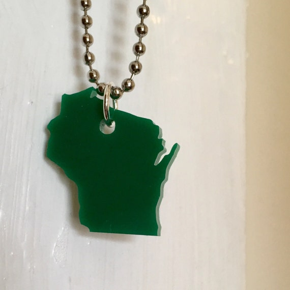 State Necklace, Wisconsin Pride State Jewelry, Green Small Size Lasercut Acrylic